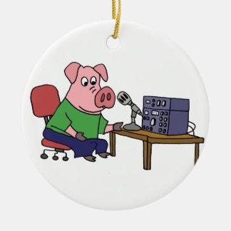 Funny Pig Using Ham Radio Round Ceramic Decoration