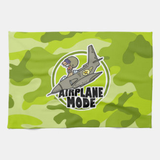 Funny Pilot; bright green camo, camouflage Towel