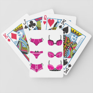 Funny pink bra edition on white bicycle playing cards