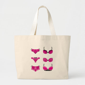 Funny pink bra edition on white large tote bag
