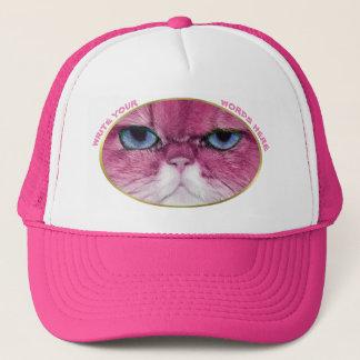 FUNNY PINK CAT, CUSTOM PINK SPORT GIRL TRUCKER HAT