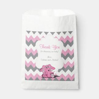 Funny Pink Chevron Silly Cute Baby Elephant Favour Bag