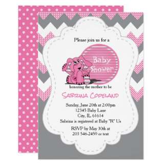 Funny Pink Chevron Silly Elephant | Baby Shower Card