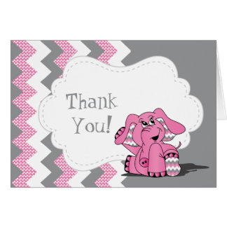 Funny Pink Chevron Silly Elephant Card