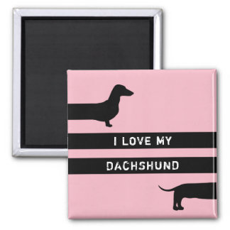 Funny PINK Dachshund silhouette Magnet