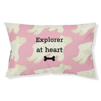"Funny pink dog bed ""Explorer at heart"""