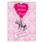 Funny pink elephant mothers day greeting card