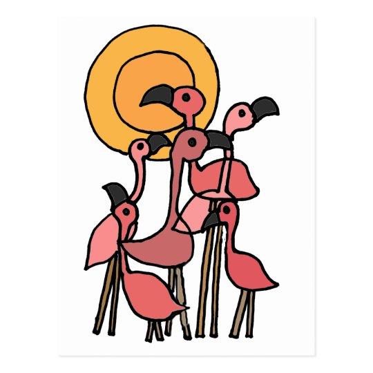 Funny Pink Flamingo Art Postcard