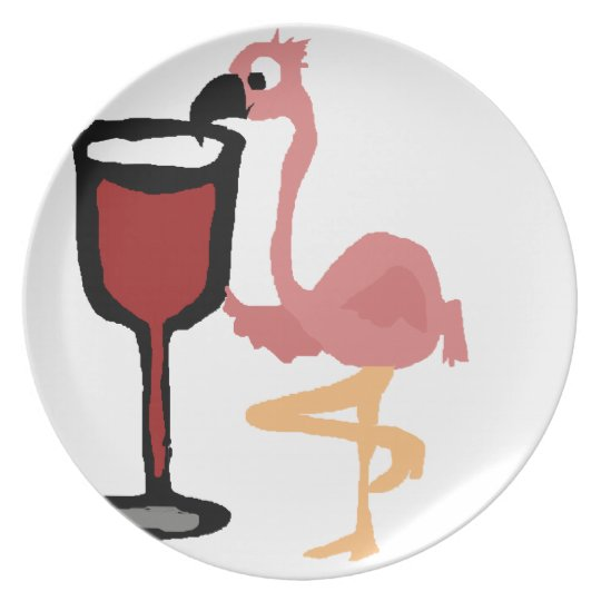 Funny Pink Flamingo Drinking Red Wine Plate