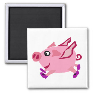 Funny Pink Flying Pig Cartoon Magnets