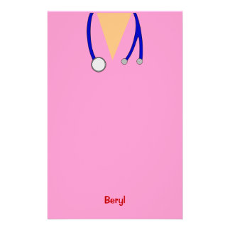 Funny Pink Medical Scrubs Whimsical Personalised Stationery