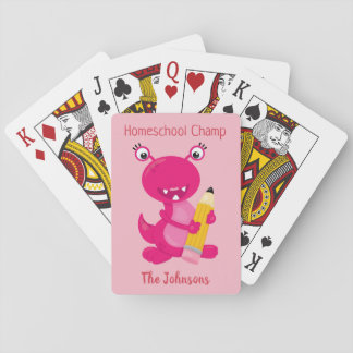 Funny Pink Monster Homeschool Champ Playing Cards