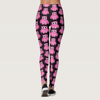 Funny pink owl cartoon pattern workout leggings