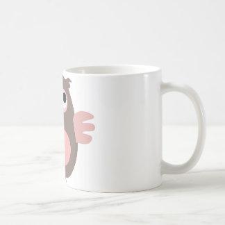 Funny pink owl basic white mug