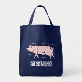 Funny Pink Pig Money Buys Bacon Joke Canvas Bag