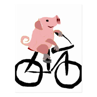 Funny Pink Pig Riding Bicycle Postcard