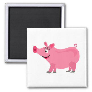 Funny Pink Pig Wearing Lipstick Square Magnet