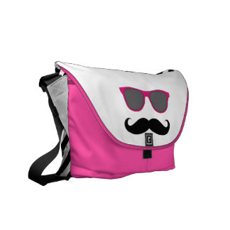 Funny Pink Sunglasses with Mustache Messenger Bag