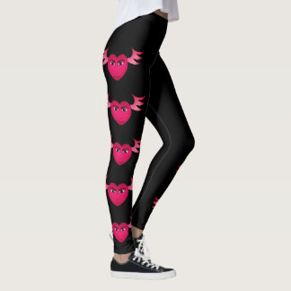 Funny pink winged heart leggings