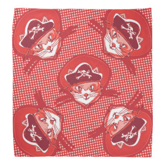 funny pirate cat cartoon halftone dot bandana