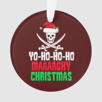 Funny Pirate Christmas Pun Yo Ho Ho Ho Ornament