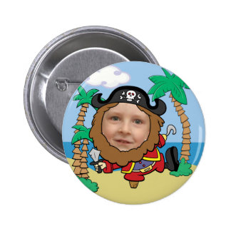 Funny Pirate Cut Out Face Template 6 Cm Round Badge