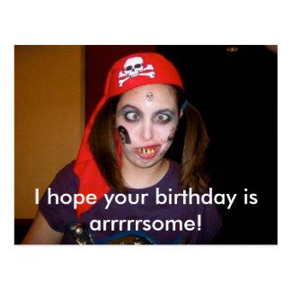 Funny Pirate Happy Birthday Postcard, Postcrossing Postcard