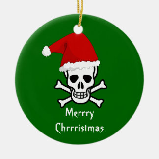 Funny Pirate Merry Christmas Greeting Arrrgh Matey Christmas Tree Ornament