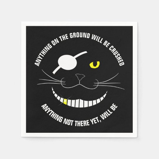 Funny Pirate Smiling Cat With An Eye Patch Paper Serviettes