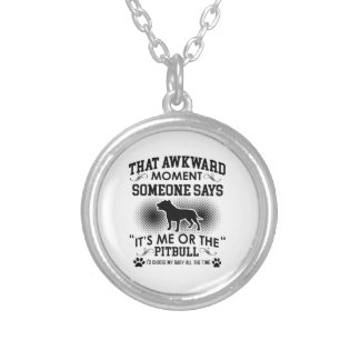 Funny Pitbull Designs Silver Plated Necklace