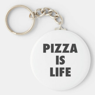 Funny Pizza is Life Fast Food Print Key Ring