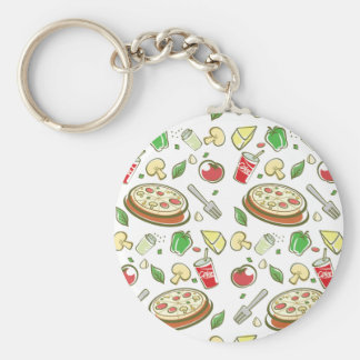 funny pizza pattern vol1 basic round button key ring