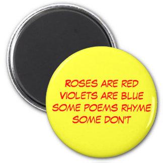 funny poem 6 cm round magnet