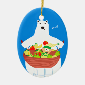 Funny polar bear elf salad Christmas ornament