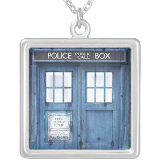 Funny Police phone Public Call Box Silver Plated Necklace
