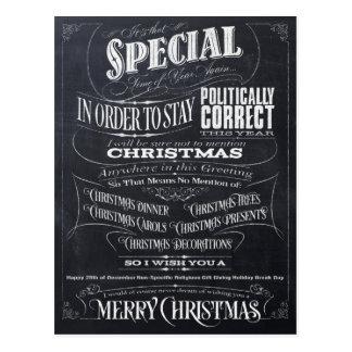 Funny Politically Correct Chalk Christmas Card - I
