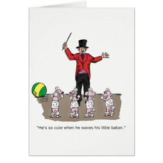 Funny poodle and trainer congratulations card. card