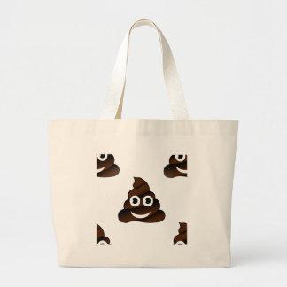 funny poop emoji large tote bag