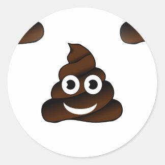 funny poop emoji round sticker