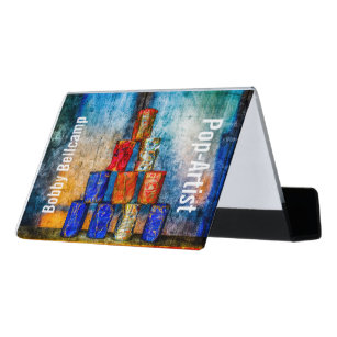 Funny business card holders zazzle funny pop artist unique customisable desk business card holder colourmoves