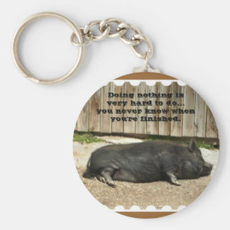 Funny Pot Bellied Pig Keychain