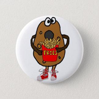 Funny Potato Eating French Fries Cartoon 6 Cm Round Badge