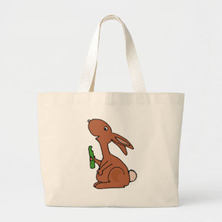 Funny Pregnant Brown Bunny Rabbit with Pickle Tote Bags