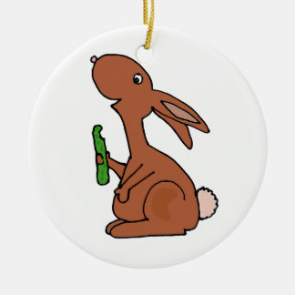 Funny Pregnant Brown Bunny Rabbit with Pickle Christmas Ornament