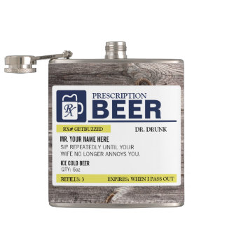 Funny Prescription Beer Hip Flask