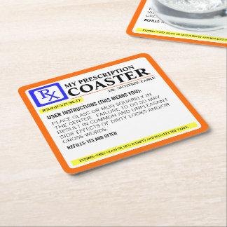 Funny Prescription Label Square Paper Coaster