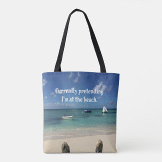 Funny 'Pretending to be at the Beach' Beach Scene Tote Bag
