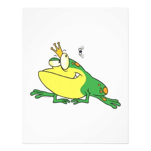 funny prince frog eyeing fly animal cartoon flyer