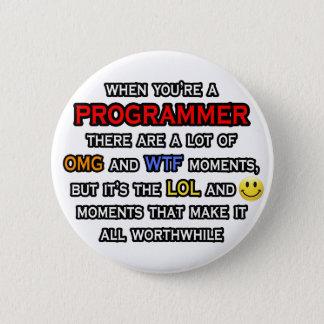 Funny Programmer ... OMG WTF LOL 6 Cm Round Badge