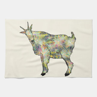 Funny Psychedelic Art Goat Animal Design Tea Towel